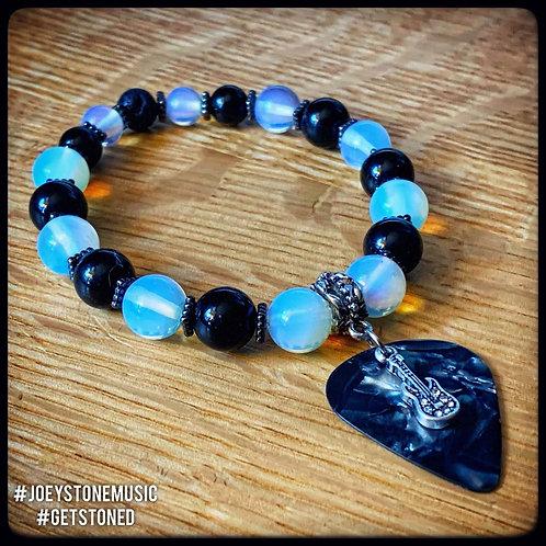 Opal, Jasper, Lavastone, and Guitar Pick Diffuser Bracelet w/Silver Plated Charm