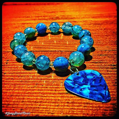 Blue Agate & Guitar Pick Bracelet