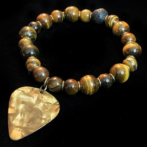 Tiger's Eye, Lavastone, & Bronze Diffuser Bracelet with Bronze Ring Accents