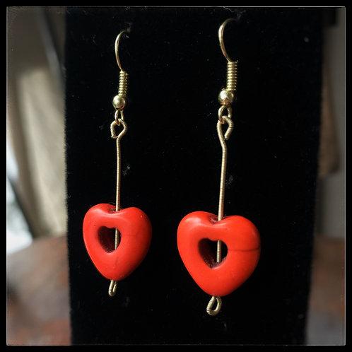 Orange Howlite Heart Earrings