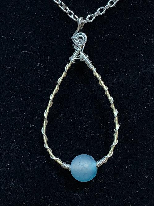 Aqua Dyed Agate, Silver, & Guitar String Pendant