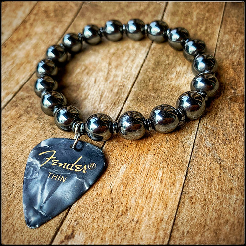 Hematite & Fender Guitar Pick Bracelet