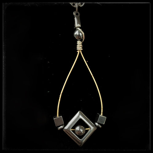 Hematite & Silver Pendant
