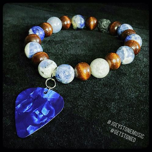 Sodalite, Wood Bead, Lavastone, and Guitar Pick Diffuser Bracelet