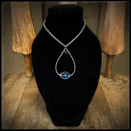 Blue Glass, Silver, & Guitar String Pendant/Charm