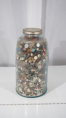 5 Gal Mason's Jar And Embossed Eagle Patent 1858 With Button Collection