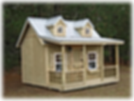 12x12 Custom Playhouse, Dormers, Full Loft, Windows, Rails, Shutters, Flower Boxes, Ladder, Stairs, Doll House Silver metal Roof, electrical package installed