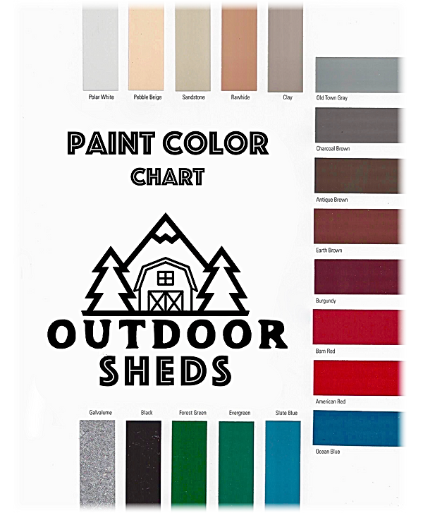 Outdoor Sheds Paint Color Chart from ove