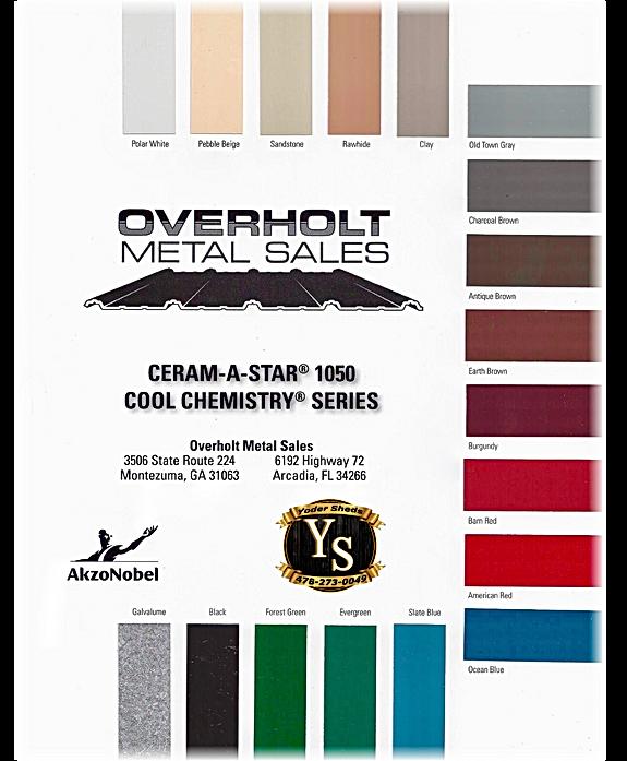 www.yodersheds.com, yodersheds@gmail.com, 478-273-0049, Overholt Metal Sales, Montezuma GA, Metal Color Chart