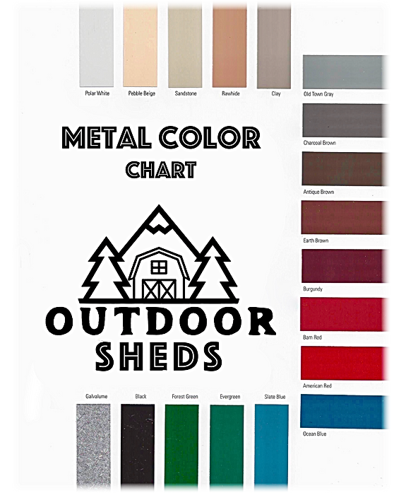 Outdoor Sheds Metal Roof Color Chart - o