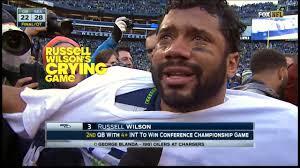 NFL quarterback cries after winning game