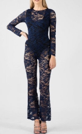 Navy Lace Full Length Body Suit