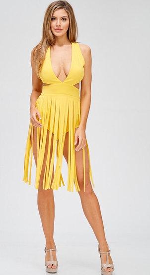 Yellow Cross Back Tassel Dress