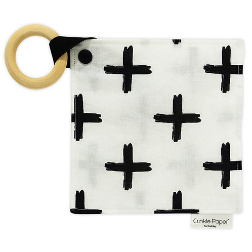 Crinkle Paper for Babies - Modern 100% Cotton Made in USA BPASwiss Cross Teether