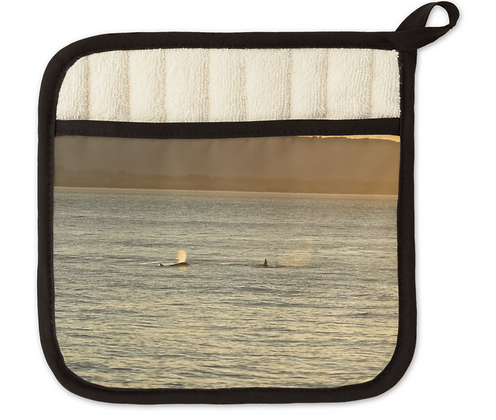 Sunset Orca Whales Pot Holder