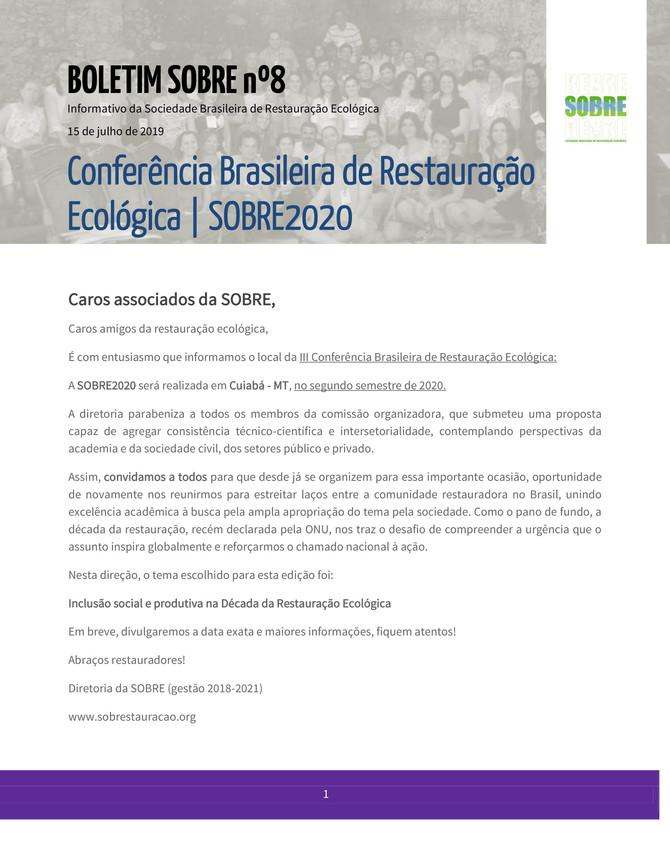 Conferência Brasileira de Restauração Ecológica | SOBRE2020