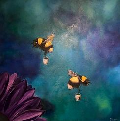 Bees art with honey pots