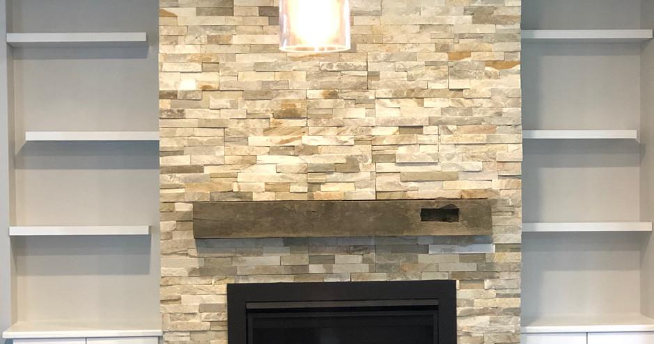 Tiny House Project - Custom Stone Fireplace and Bookshelves
