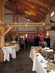 Inside the barn at Sharp Farm, set for a wedding.