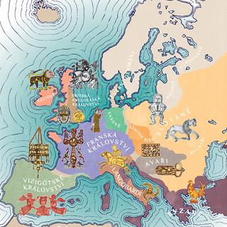 Mapa Evropy v 7. stol n. l.