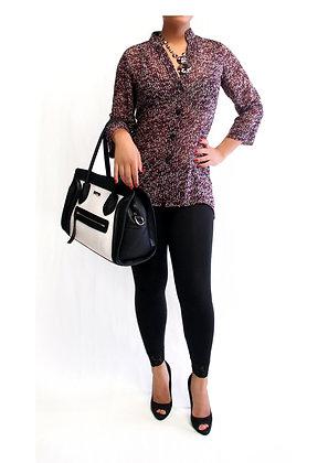 Maroon knit-print Blouse