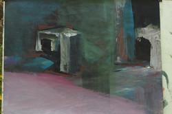 paysage rupestre acrylique sur papier 65x50