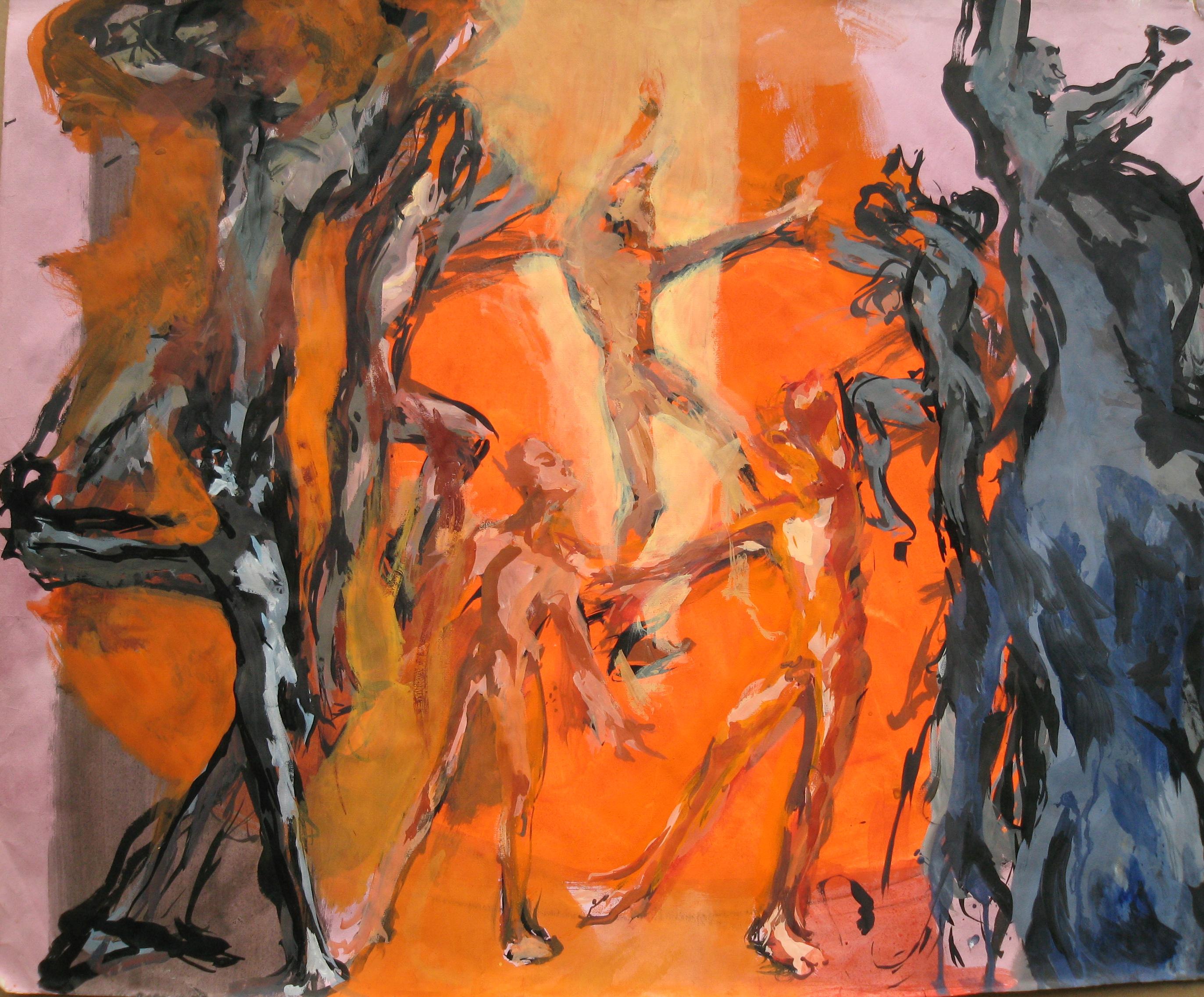 la Danse encre, acrylique sur papier 86x107