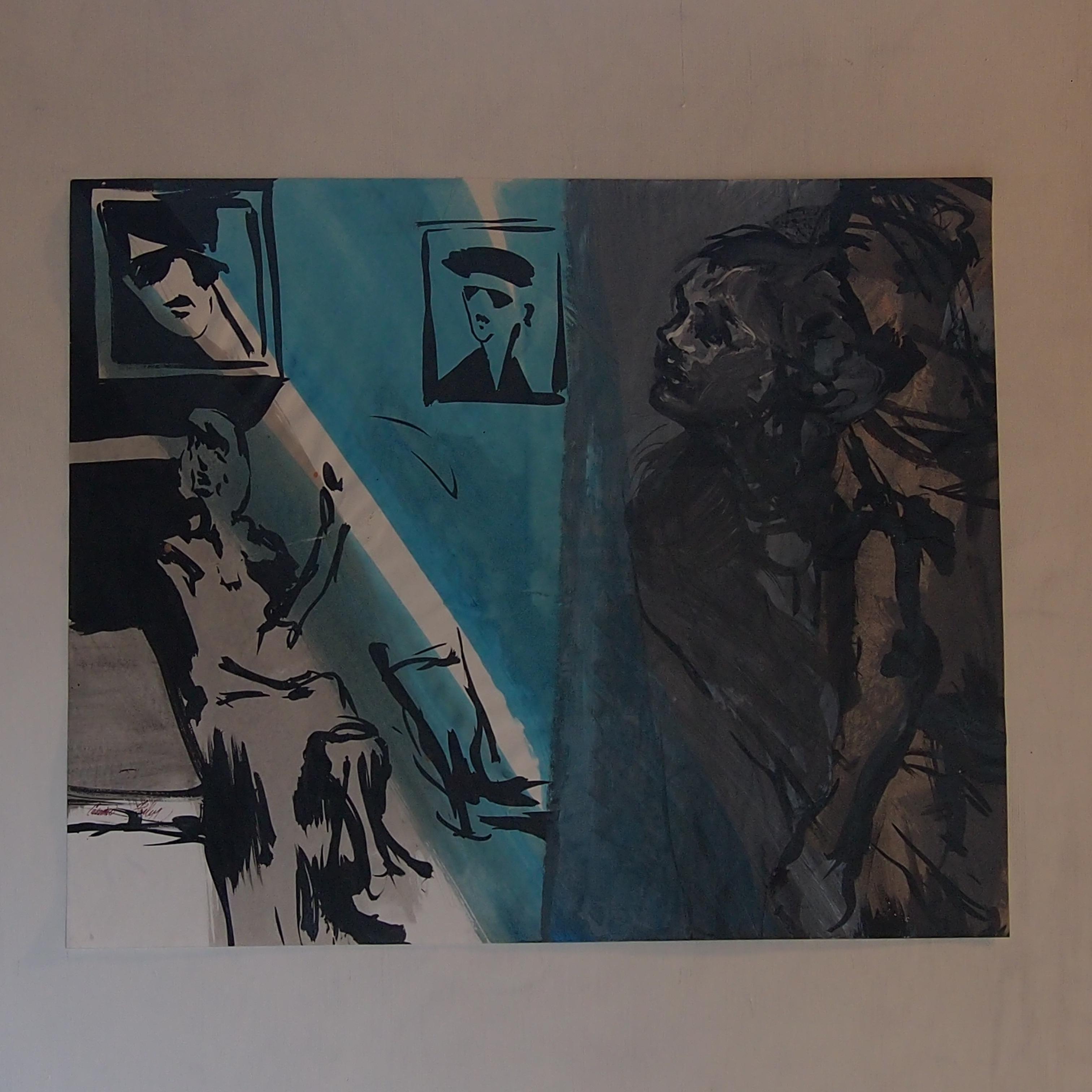 la surveillante encre, acrylique sur papier 65x50