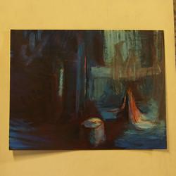 paysage lunaire encre, acrylique sur papier 65x50