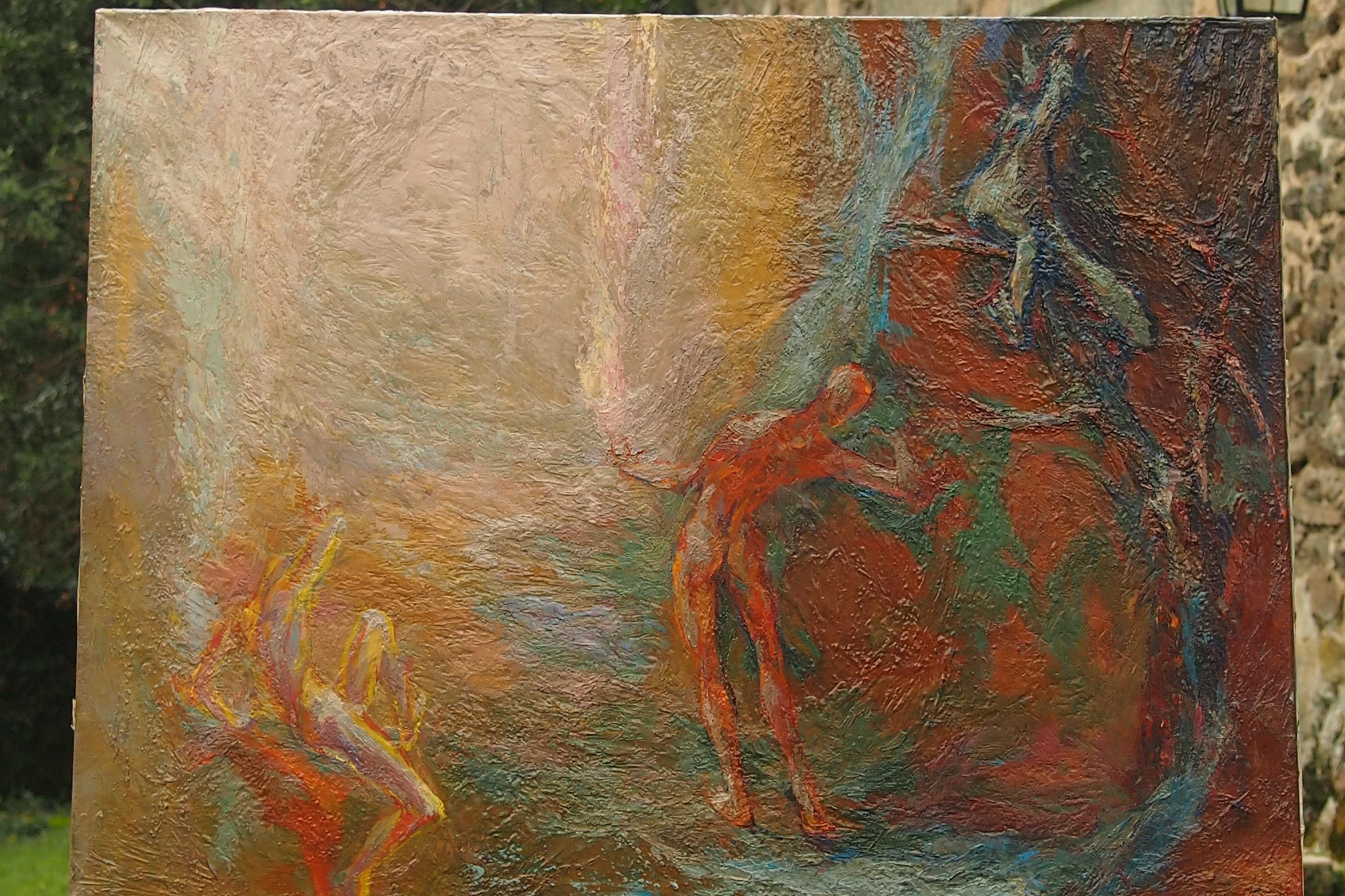 Lutte huile sur toile 71x86