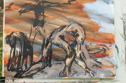 Bataille encre,acrylique sur papier 50x65