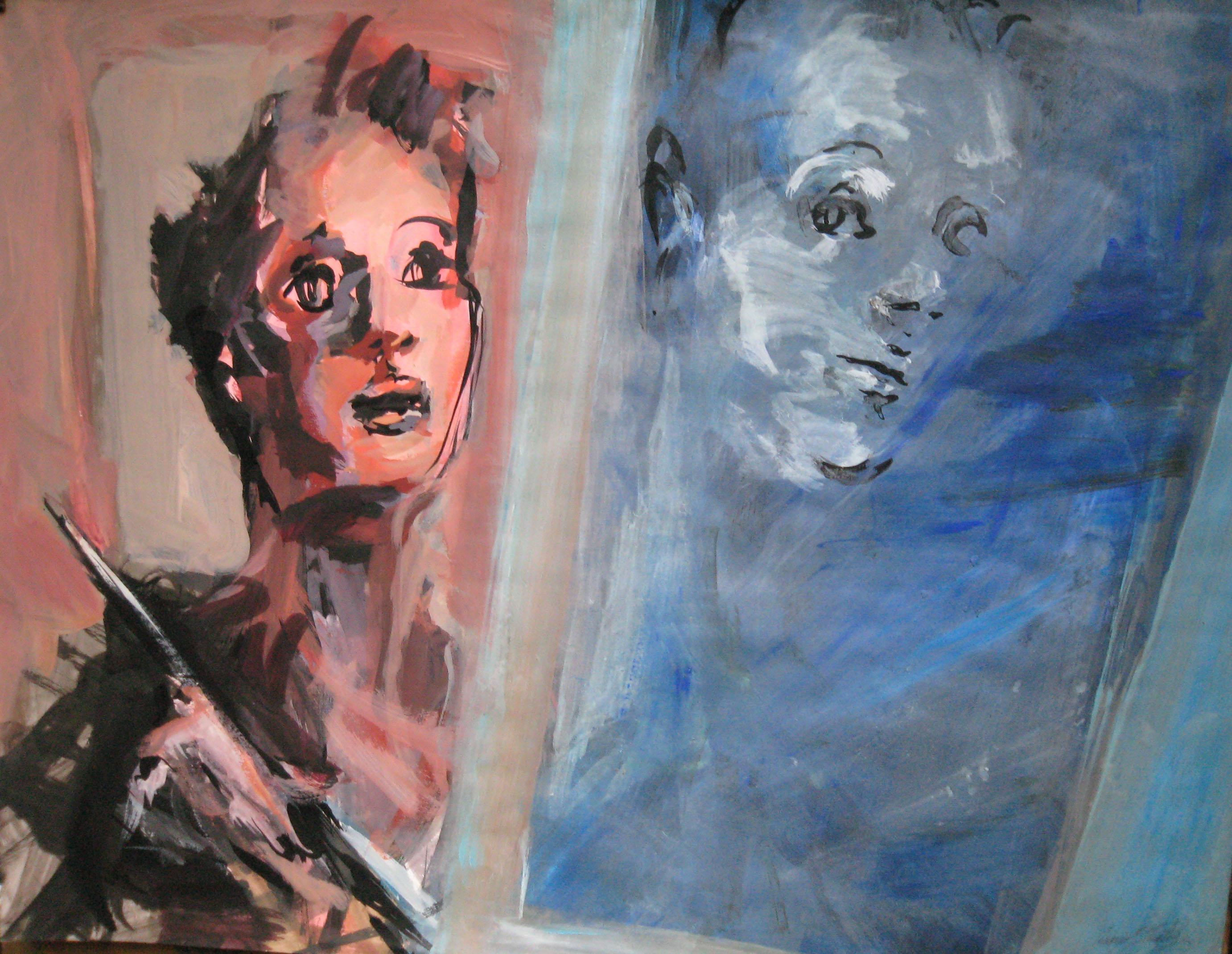 autoportrait encre, acrylique sur papier 65x50