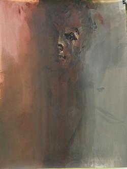 portrait sombre encre,acrylique 65x50