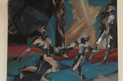 danse de rencontre acrylique sur papier 65x50