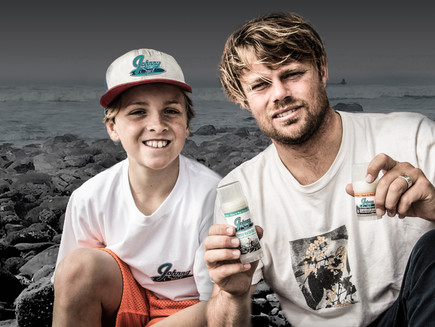 World Class surfer DANE REYNOLDS with Johnny on the Spot Surfer Rash Balm