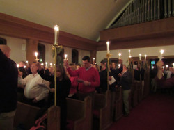 Christmas Eve Candle Light worship with everyone holding up their candles