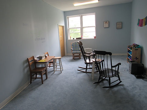 special needs classroom photo of chairs and carpeting