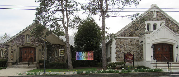 rainbow banner in front of church