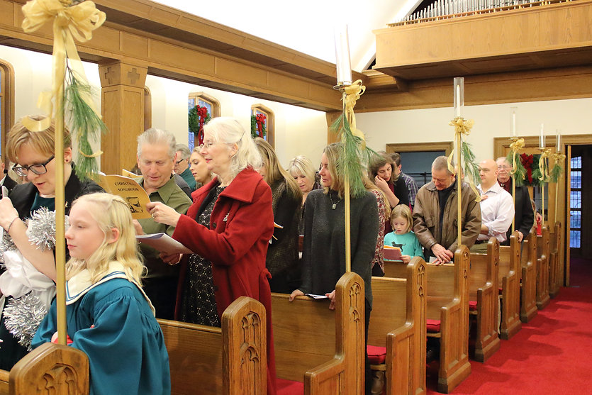 Christmas Eve pageant worship of congregation singing