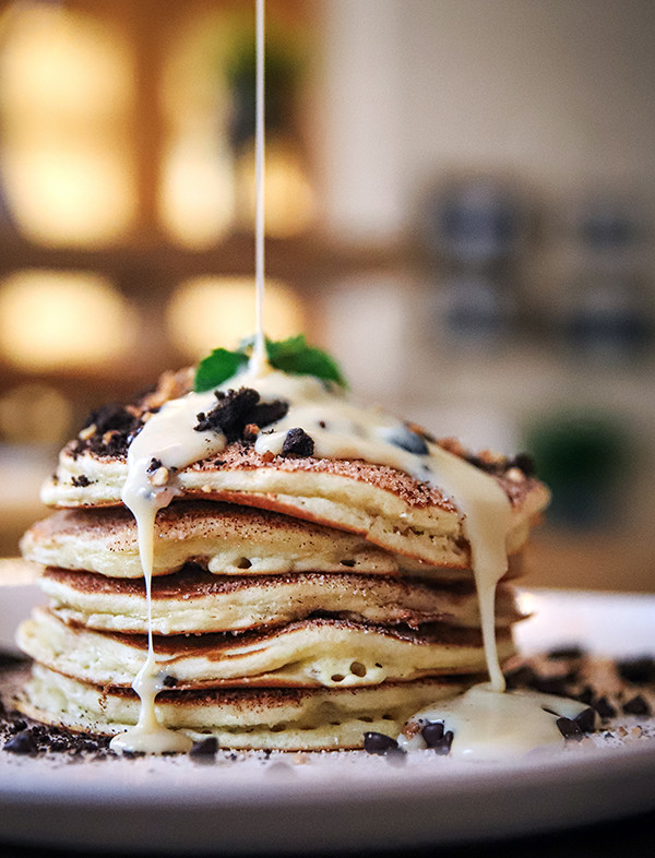 PANCAKE STACK with gorgeous pour at Four Seasons Resort in Dallas