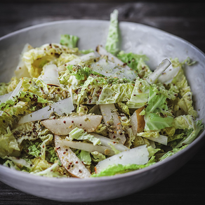 Savoy Cabbage Salad with Asian Pear and Hard Goat Cheese