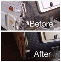 Before and after caravan repair