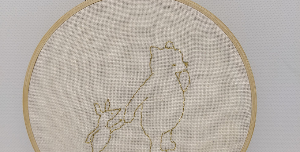 Pooh Bear and Piglet Embroidery Hoop