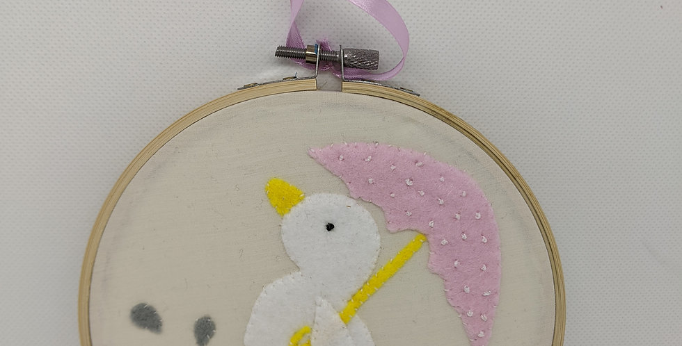 Duck in Welly Boots Embroidery Hoop