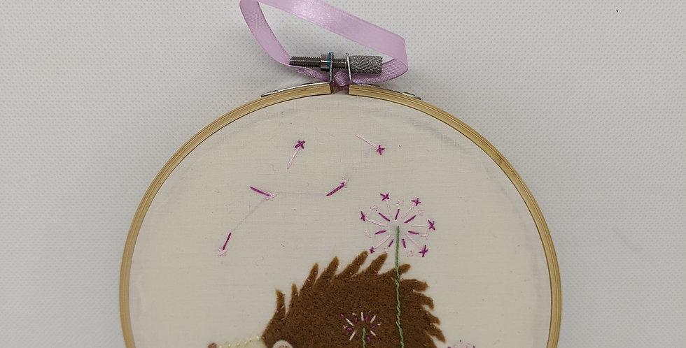 Hedgehog Embroidery Hoop