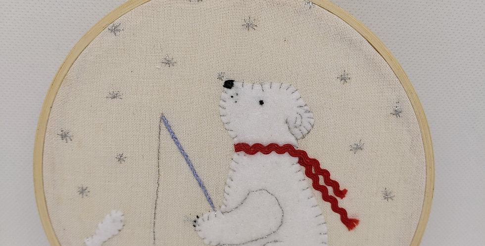 Christmas Polar Bear Embroidery Hoop