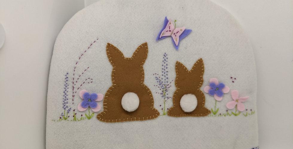 Bunny tea cosy - purple