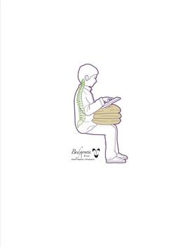 Sitting using pillows in lap