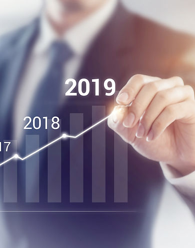 Growth in 2019 year concept. Businessman