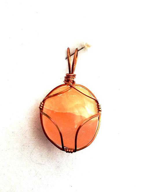 Peach Selenite Pendant